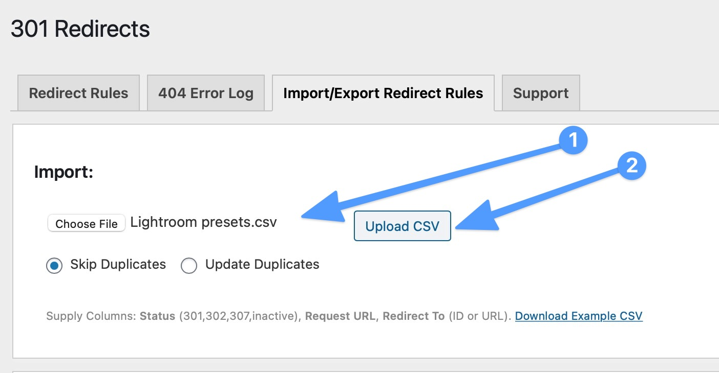 Upload redirection CSV - How to redirect a lot of links