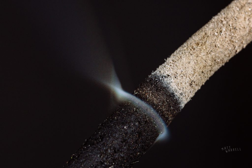 incense macro photography