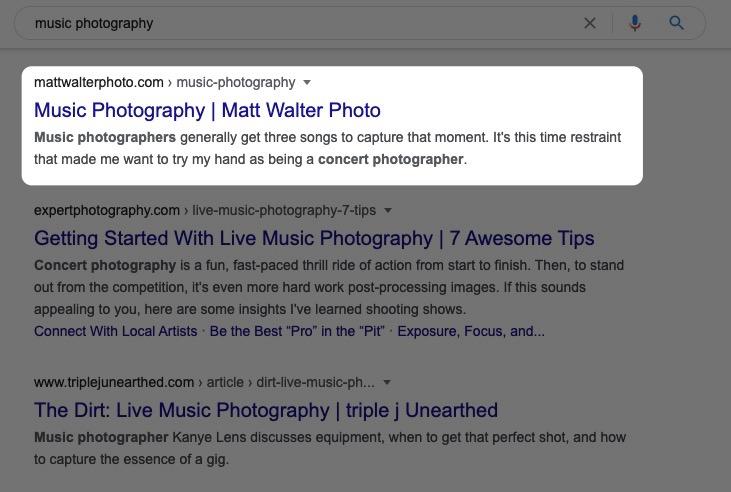Music photography Matt Simplified