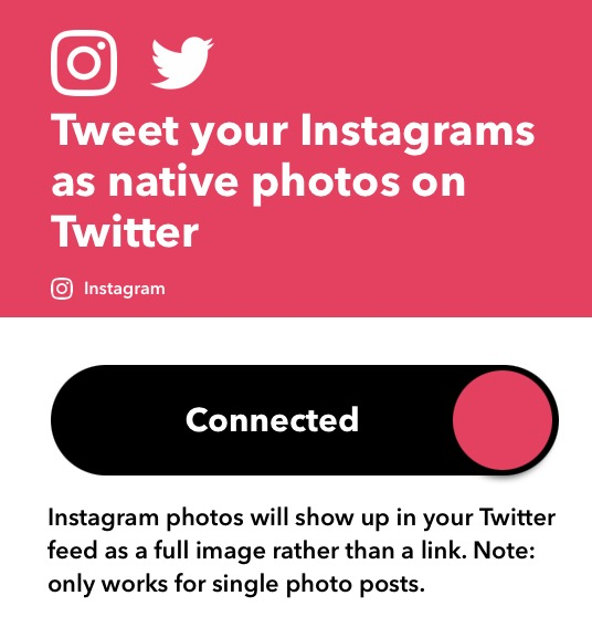 IFTTT Connected Instagram photos to Twitter