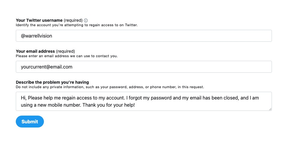 Enter your Twitter account and email
